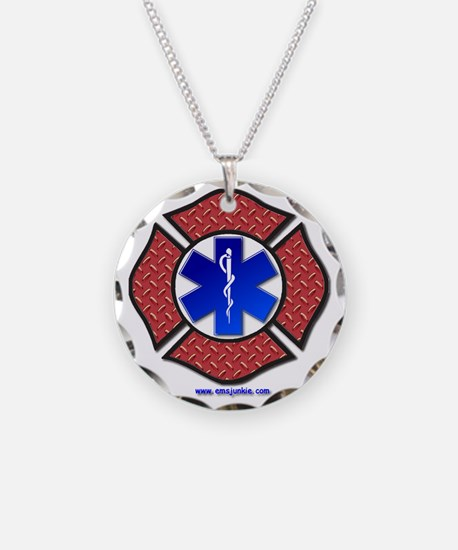 Steel Plate Maltese Cross an Necklace