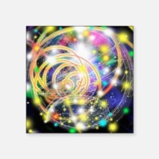 "Particle tracks on a star c Square Sticker 3"" x 3"""