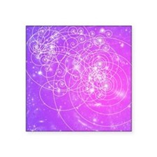 """Particle tracks on galaxies Square Sticker 3"""" x 3"""""""