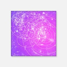 "Particle tracks on galaxies Square Sticker 3"" x 3"""
