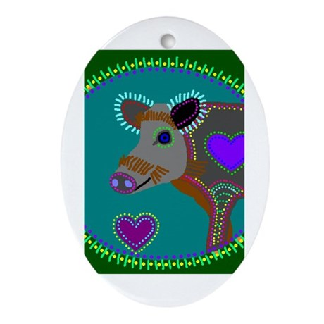 wild boar Oval Ornament