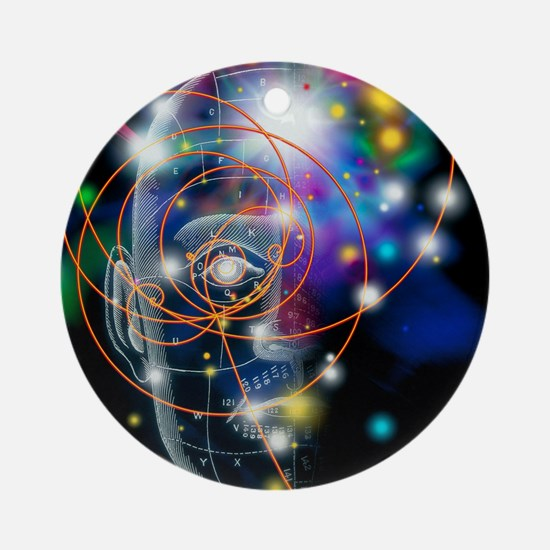 Particle tracks and head Round Ornament