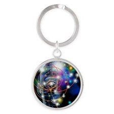 Particle tracks and head Round Keychain