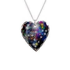 Particle tracks and head Necklace Heart Charm