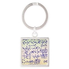 Particle physics equations Square Keychain
