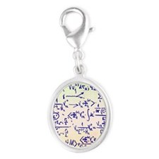 Particle physics equations Silver Oval Charm