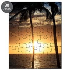 Palm trees on a beach at sunset Puzzle