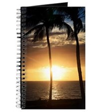 Palm trees on a beach at sunset Journal