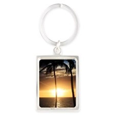 Palm trees on a beach at sunset Portrait Keychain