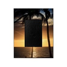 Palm trees on a beach at sunset Picture Frame