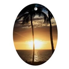 Palm trees on a beach at sunset Oval Ornament
