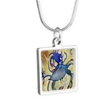 Sandy Crab Silver Square Necklace
