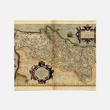 Ortelius's map of Portugal, 1570 Throw Blanket