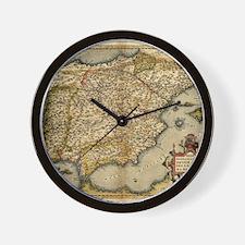 Ortelius's map of Iberian Peninsula, 15 Wall Clock