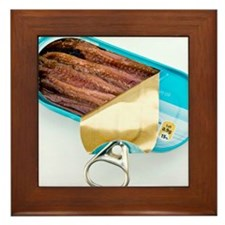 Open tin of anchovy fillets Framed Tile