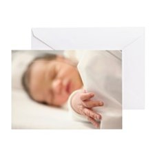 One day old baby girl sleeping Greeting Card