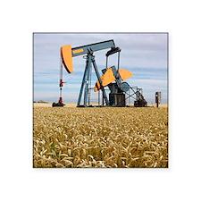 """Oil pump in a wheat field Square Sticker 3"""" x 3"""""""