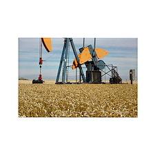Oil pump in a wheat field Rectangle Magnet