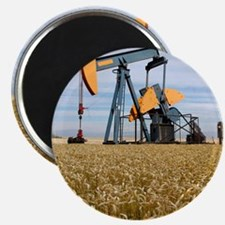 Oil pump in a wheat field Magnet