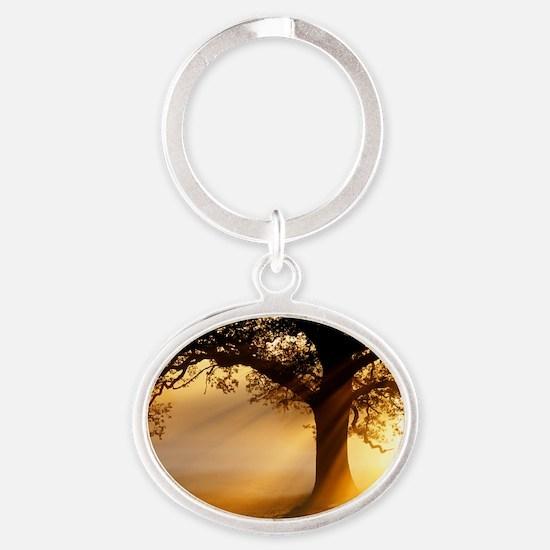 Oak tree at sunrise Oval Keychain