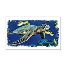 Green Sea Turtle Rectangle Car Magnet