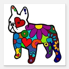 """Frenchie Power Square Car Magnet 3"""" x 3"""""""