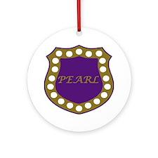 Omega Pearl Shield Round Ornament