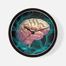 Neural network, computer artwork Wall Clock