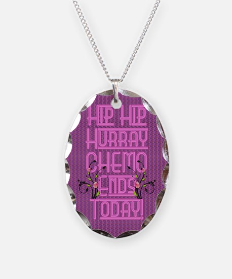 last day of chemo Necklace Oval Charm