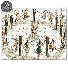 Native American tribal dance, artwork Puzzle