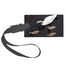 Mute swan and cygnets Luggage Tag