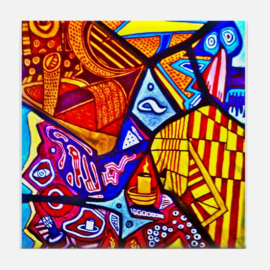 Modern Abstract Art Tile Coaster