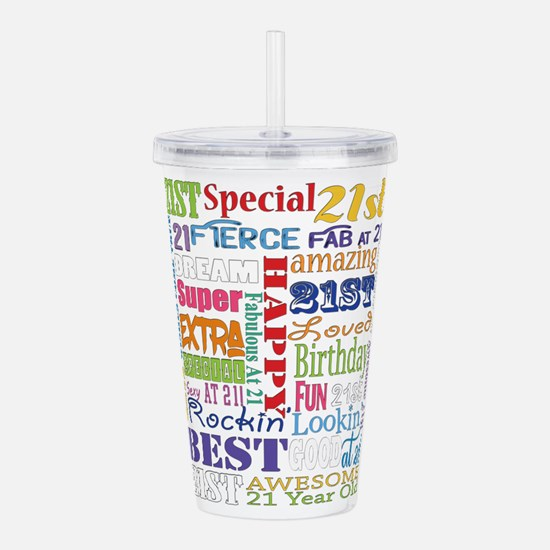 21st Birthday Typograp Acrylic Double-wall Tumbler