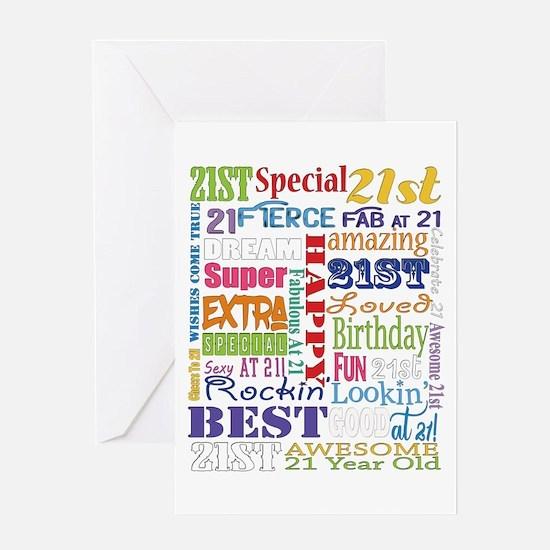 21st Birthday Typography Greeting Card