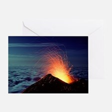 Mount Etna volcano erupting Greeting Card