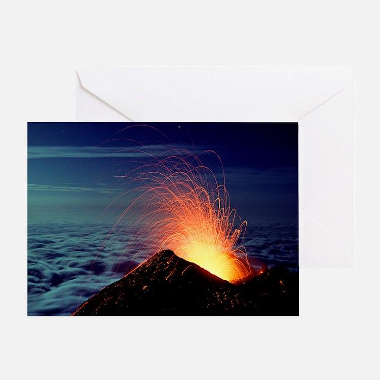 Mount Etna volcano erupting Greeting Card