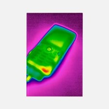 Mobile phone on charge, thermogra Rectangle Magnet
