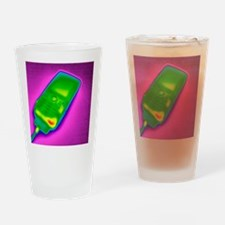 Mobile phone on charge, thermogram Drinking Glass