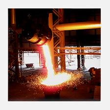 Molten steel slag being poured Tile Coaster