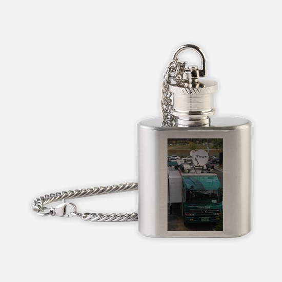 Mobile bank with satellite dishes,  Flask Necklace