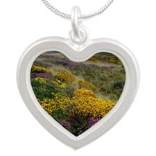 Mixed wildflowers on moorlan Silver Heart Necklace
