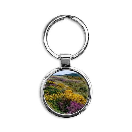 Mixed wildflowers on moorland Round Keychain
