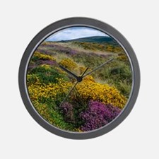 Mixed wildflowers on moorland Wall Clock