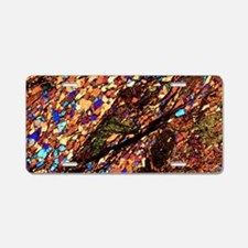 Mica schist, thin section,  Aluminum License Plate