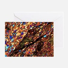 Mica schist, thin section, polarised Greeting Card