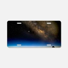 Milky way and observatories Aluminum License Plate