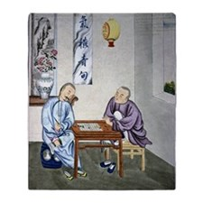 Men playing Go, artwork Throw Blanket