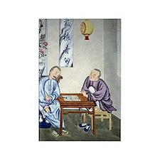 Men playing Go, artwork Rectangle Magnet
