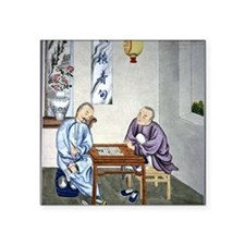 "Men playing Go, artwork Square Sticker 3"" x 3"""
