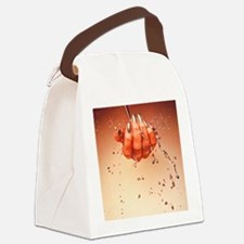 Mercury flowing through fingertip Canvas Lunch Bag